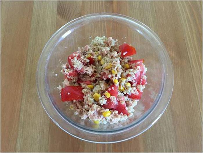 quinoa tomate maizy atún