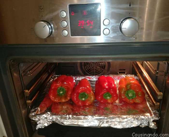 pimientos rojos en el horno