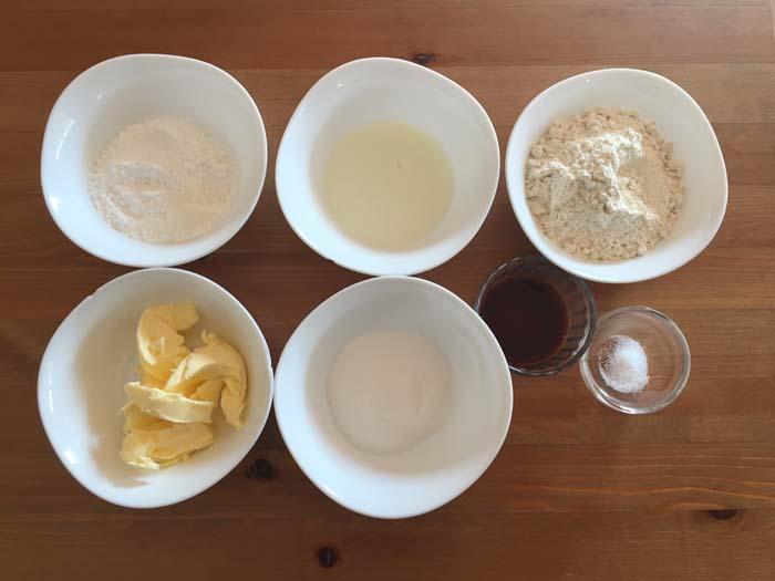 ingredientes para hacer galletas de vainilla