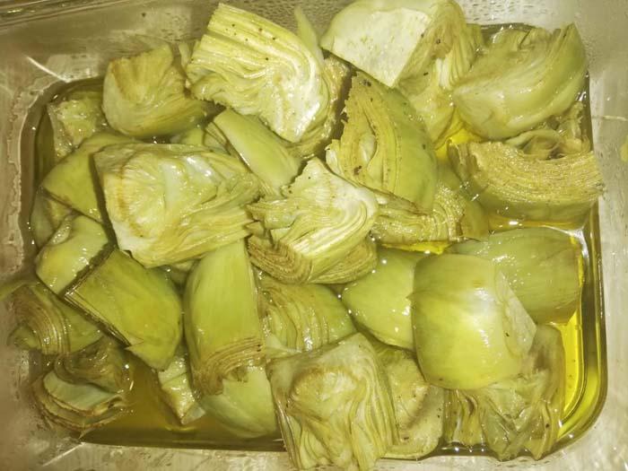 alcachogas confitadas en aceite