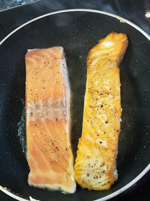 sarten con salmon