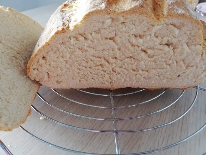 mitad de pan rápido para ver textura